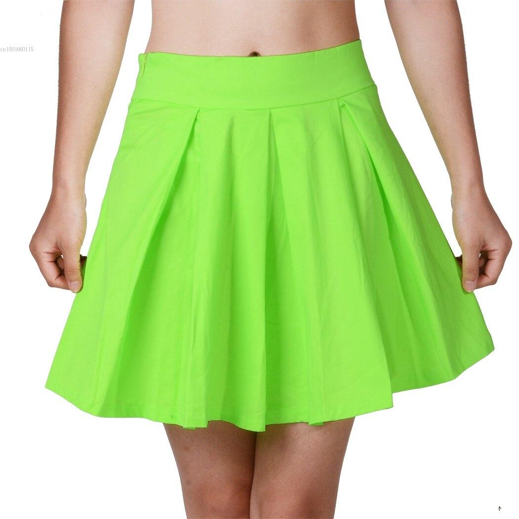 572a1bb721 New Arrival 2017 Womens skirts Spring Summer Neon Green Skater Short Skirt  size M