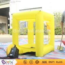 Бесплатная доставка кубической формы желтый надувные наличные деньги схватить автомат Лидер продаж 1.2 м на небольшой надувной деньги стенда Игрушка палатки