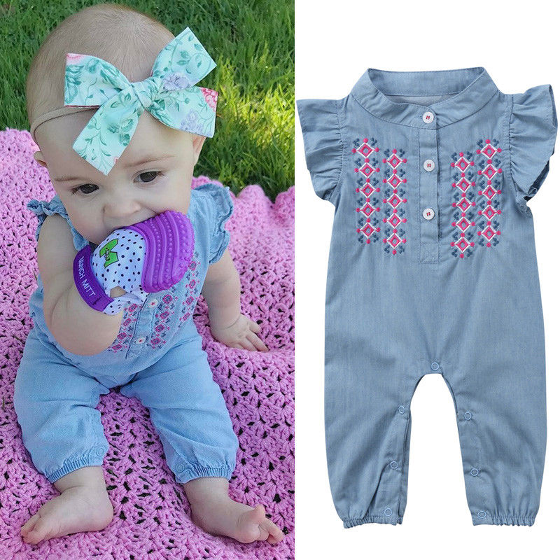Newborn Baby Girl   Romper   Denim   Romper   Ruffles Sleeve Soft Jeans Clothes Baby Girl Clothes
