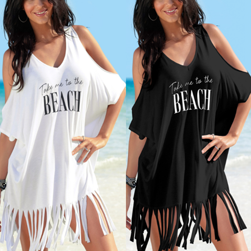 Beach Cover Up Women's Letters Print Cold Shoulder Tassels Batwing Baggy Swimwear Bikini Cover-ups Beach Tunics Blouse Top