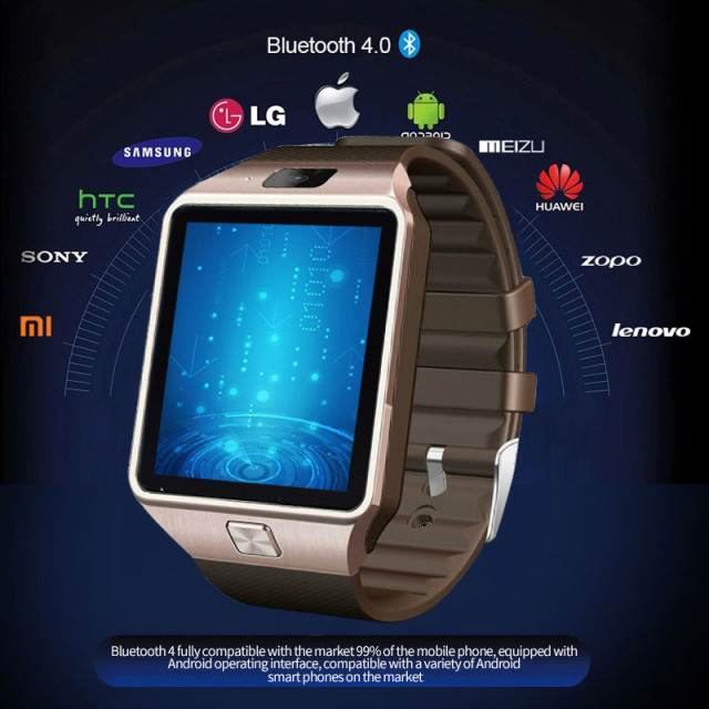 Men's LED Electronic Intelligent Waterproof Sport Gold Smart Watch For iPhone Android