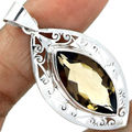 Genuine Smoky Quartz Pendant  100%  925 Sterling Silver Jewellery AP0514 52mm