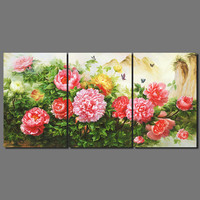 Luxurious Retro print flower wedding living room Decoration peony Rose Canvas Painting wall art pictures home decor unframed
