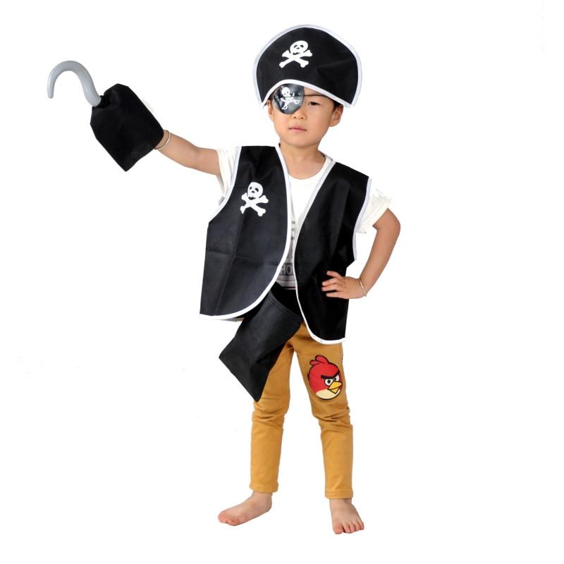 Halloween Classic Kids Pirate Cosplay Costume Boys Children skull eye vest hat blinder hook boys girls costume set