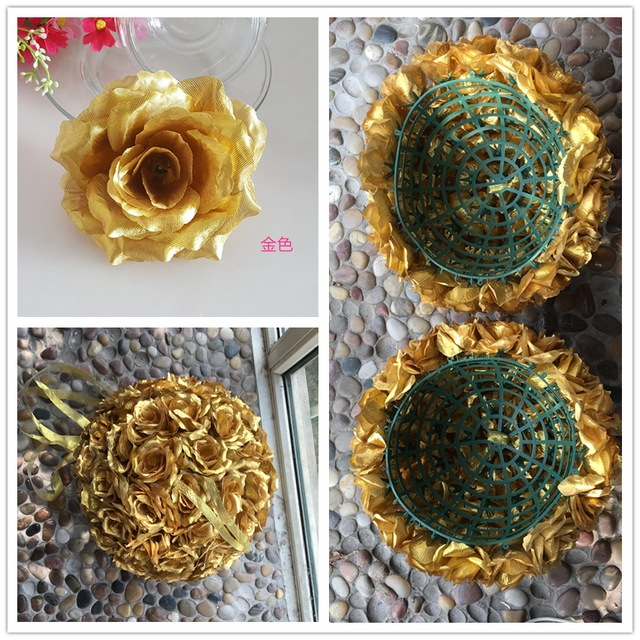 100X Gold Flowers Artificial Silk Roses Heads Bulk 10cm For Kissing Ball Flowers Pomanders  Wedding Flowers Wholesale Lots