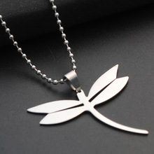 stainless steel flying dragonfly charm pendant necklace small insect animal beneficial Peace pigeon bird jewelry