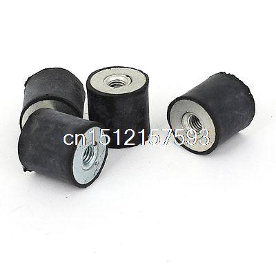 4PCS M6 20 x 20mm Double Side Anti Vibration Rubber Mount Isolator Bobbin 10 x double end thread m4 10 rubber damper rubber mount mount size 15mm 15mm