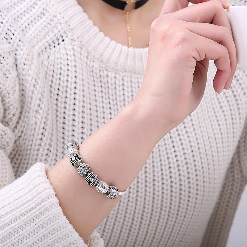 BELAWANG Moda Kadınlar Kadınlar Için Bilezik Gümüş Kristal - Kostüm mücevherat - Fotoğraf 4