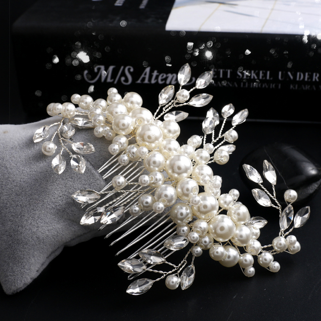 Handmade Silver Bridal Hair Comb White Pearl Jewelry Vintage Wedding Accessories Headpiece Prom
