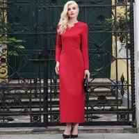 S-XXXL Fall Elegant Women Cotton Red Dress Large Size Full Sleeve Slim Fit Ankle Length Pencil Dresses Robe Vintage 5728