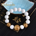 Natural White Tridacna Canal Beads Bracelet  Lap Bracelets Jewelry Charm Gifts Diybeads