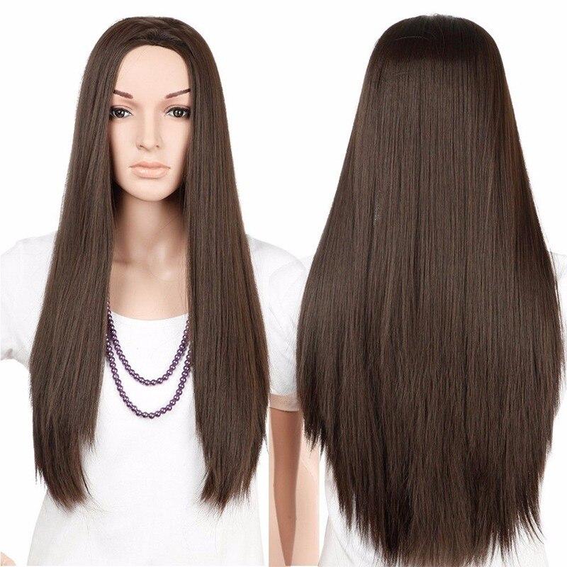S-noilite 28 zoll Lange Gerade 100% Reale Natürliche Perücke Synthetische Braun Blonde Rot Schwarz Hitzebeständige Haar Perücken für Frauen