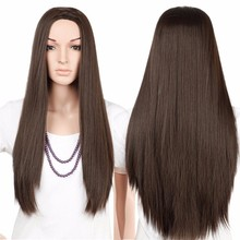 S-noilite 28inches Long Straight 100% Real Natural Wig Synthetic Brown Blonde Red Black Heat Resistant Hair Wigs for Women