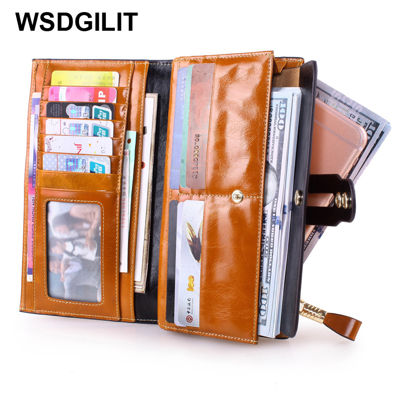 Fashion Genuine Leather Long Women Wallets Female Zipper Clutch Wallet Card Holder Wallet Ladies Cowhide Coin Purse Portefeuille vintage genuine leather wallets men fashion cowhide wallet 2017 high quality coin purse long zipper clutch large capacity bag