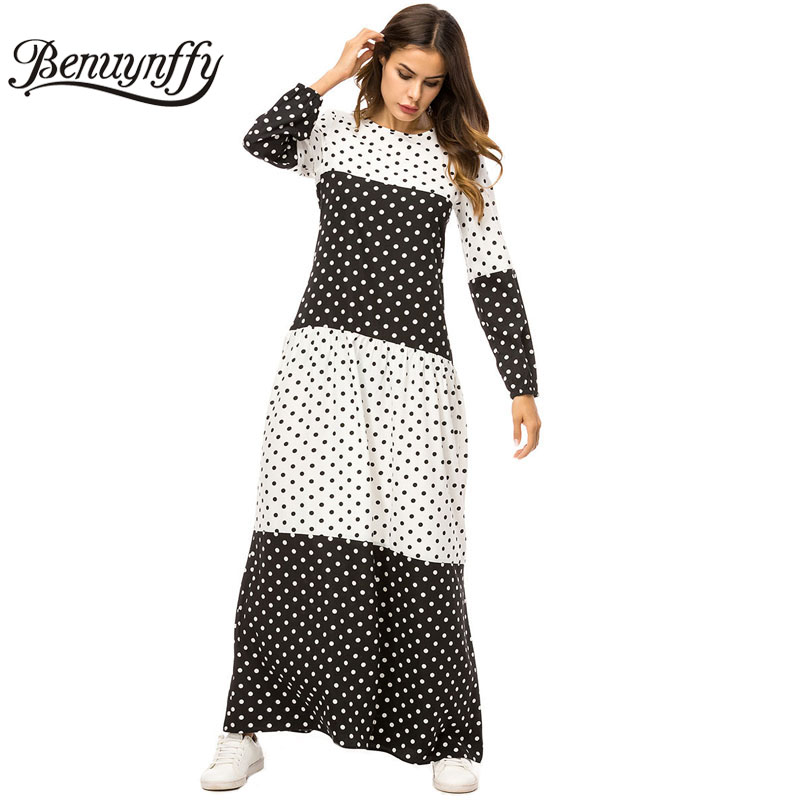 dcbd586e811 Benuynffy Black and White Polka Dot Maxi Dress Autumn winter Womens Casual  Round Neck Long Sleeve Vestidos Ladies Plus Size-in Dresses from Women s  Clothing ...
