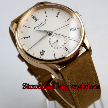 42mm Parnis Black strap Rose gold case white dial 24 Hours ST 1690  Automatic Movement Mens Watch
