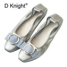 New Women Genuine Leather Flats High Quality Bow Casual Loafers Square Toe Basic Ballerina Ballet Flat Slip On Shoes Big Size 12 flats nude roll up 10 shoes cute big size 11 bow foldable ballet chinese 43 metal ballerina women 2018 china large kawaii