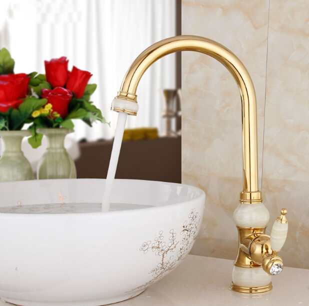 Free Shipping Brass torneira cozinha with Marble kitchen faucet/single handle Gold finish basin sink mixers taps sink faucet gold brass swivel spout cuba kitchen faucet single handle vessel sink faucet mixer tap torneira de cozinha free shipping 8915