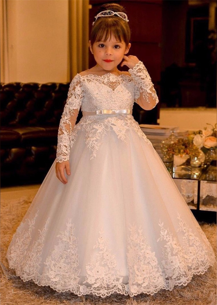 Hot Sale Lace Appliques flower girl dresses ball gown long sleeve kids evening gown first communion dresses for girls hot sale champagne lace appliques first communion dress ball gown with bow kids evening gown flower girl dress for wedding