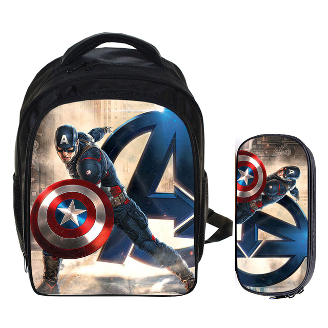 b7ac2afee1 13 Inch The Avengers Captain America Backpack For Boys Girls Book Bag Kids  School Bag Children Backpack Pencil Bag Sets