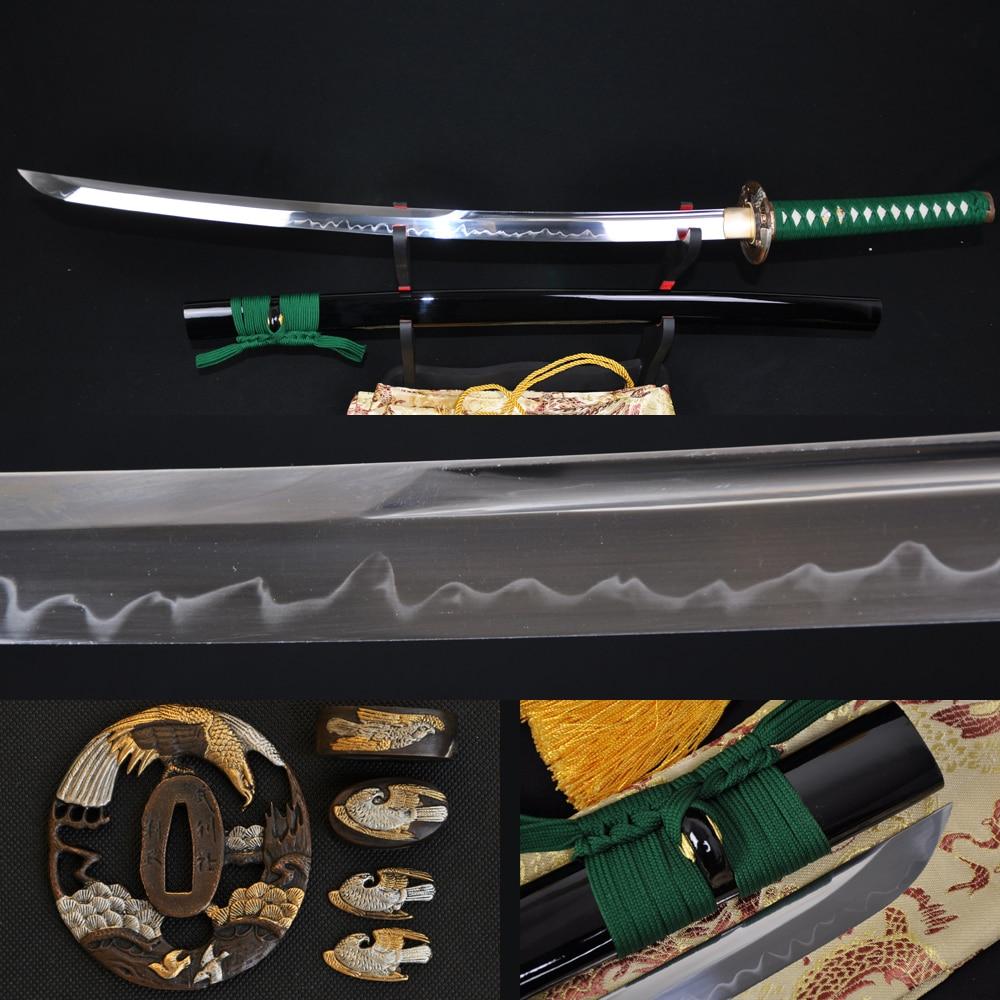 Japonský samuraj 1095 T10 katana meč s vysokou uhlíkovou ocelí orel tsuba unokubi zukuri skutečný hamon plný tang čepel může řezat bambusy