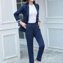 2018 Fashion Pant Suits 2 Piece Sets Women Striped Jacket & Zipper Pant Office Lady Work Uniform Female Outfits Feminino