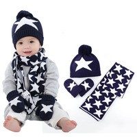 Boy Girl Hat Scarf And Gloves Set Children Knitted Cap Baby Fall Winter Fashion Kids Hats Boys Star Print 3 Pieces Sets B0751