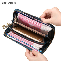 Large Capacity Women Clutch Quality Wallet Split Leather Wallet Female Long Wallet Women Zipper Purse Flower