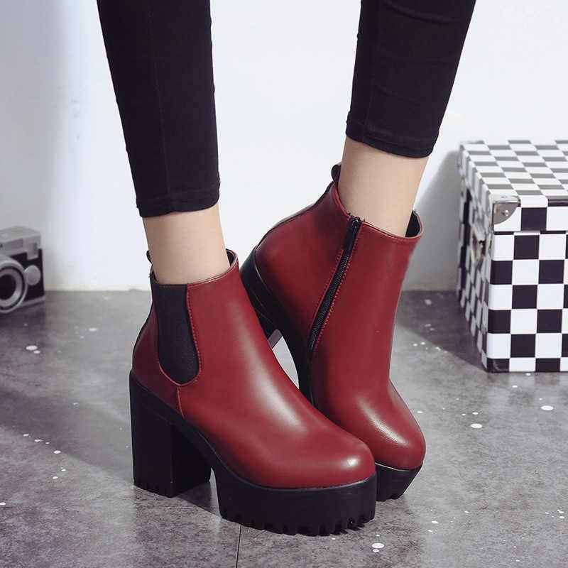 Frauen Elastische Band Herbst Ankle Chelsea Stiefel Platz Ferse Plattform Weibliche Schuhe Super High Heels Winter Kurze Plüsch Stiefel Damen