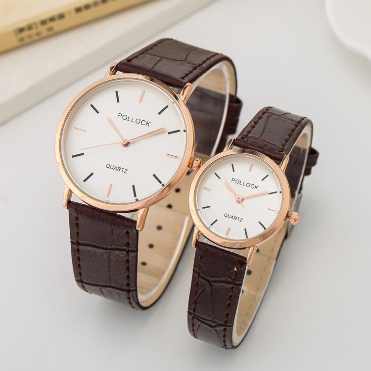 Classic Luxury Rose Gold Genuine Leather Dress Business Wristwatch Wrist Watch Clock for Women Female Men Male Black Brown OP001