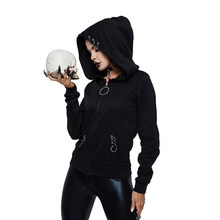 Rosetic Women Hoodies Casual Black Goth Punk Tops Plus Size Straight Hooded Zipper Spring Gothic High Street Female Sweatshirts(China)