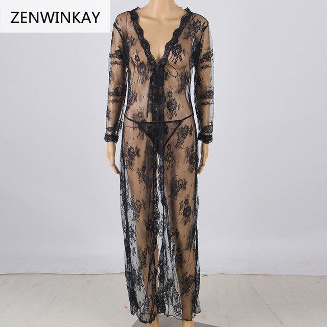 Women Black Sexy Lingerie Nightwear Underwear Ladies Long Sleeve Bath Robe Sleepwear Babydoll Lace Long Dress with Thong