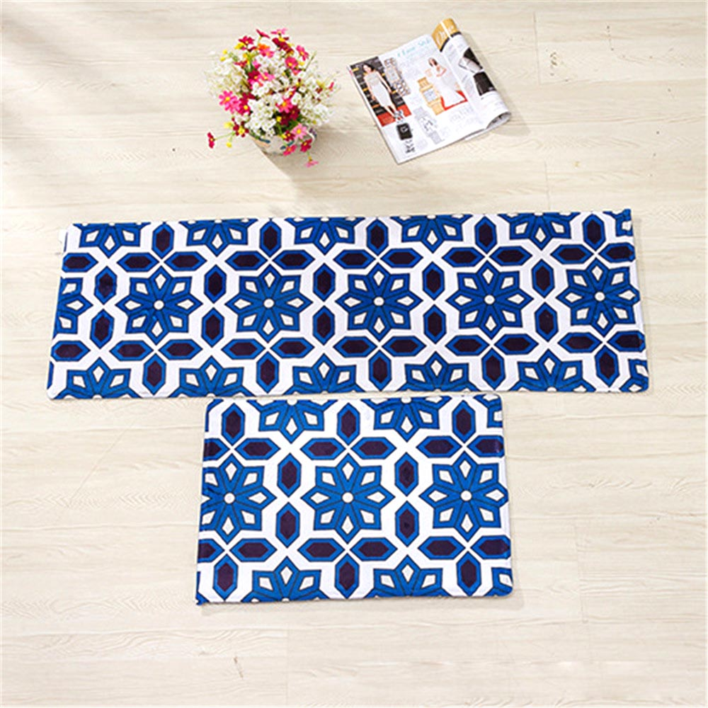 40*60cm Unique Geometry Pattern Soft Flannel Floor Bath Mats Set Non Slip  Bathroom Toliet Rugs Water Absorption Carpet For Home