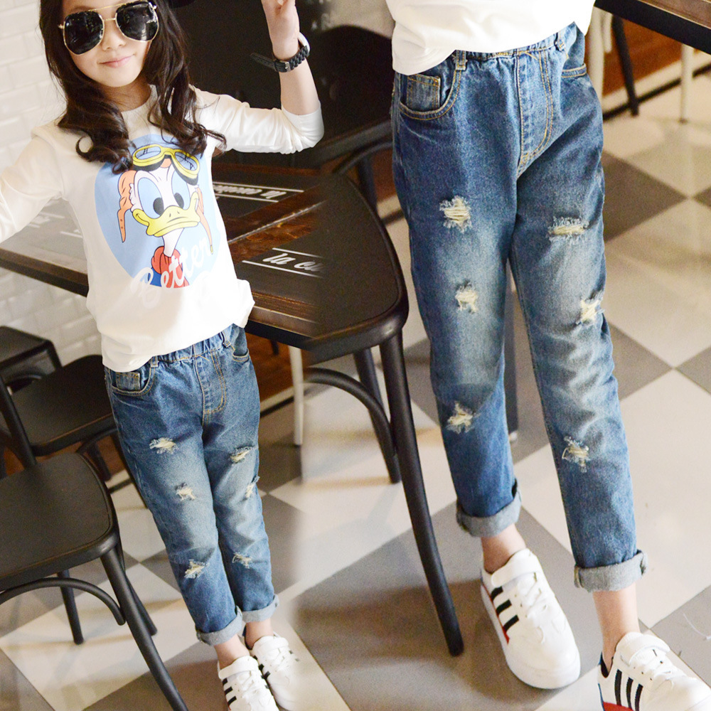 Ripped Jeans For Kids Teenagers 5 6 7 8 9 10 11 12 13 14 15 Years Baby Girls Denim Pants Elastic Waist Skinny Children Costumes dark blue middle waist skinny shredded ripped jeans with four pockets