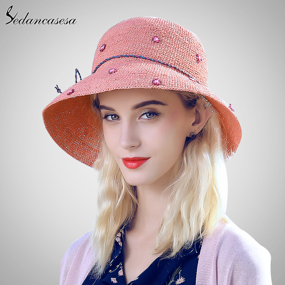 Sedancasesa chapeaux de soleil D'été Femmes Large Bord Raphia chapeaux en paille Dames chapeau floppy UV Protéger Pliage chapeaux de plage Pour Les Filles SW105113