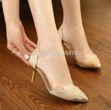 HOT Women Pumps High Quality Fashion PU Leather Thin High-Heel Pumps Woman Shoes Gold, Sliver and Black