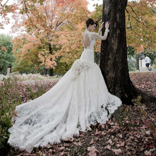 kejiadian Backless Wedding Dresses Long Sleeve Court Train