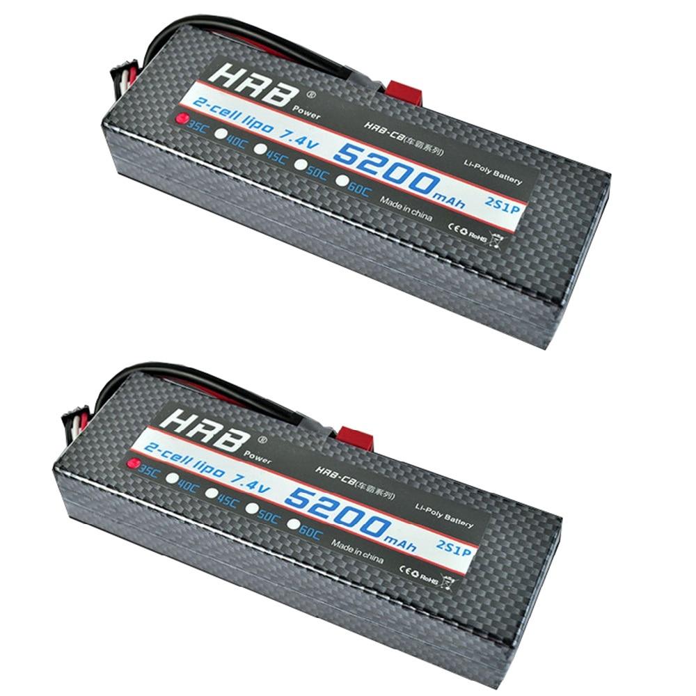 2 pcs HRB 7.4 V 5200 mah Lipo batterie Hardcase 2 S 35C XT60 EC5 T Deans 1/10 1/8 échelle pour Traxxas Slash 4x4 RC voitures étui rigide pièces