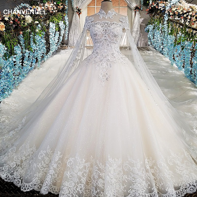 LS00169 Luxury wedding gowns with cape beaded ball gown short sleeves high  neckine lace vestido de e41c7b9cc815