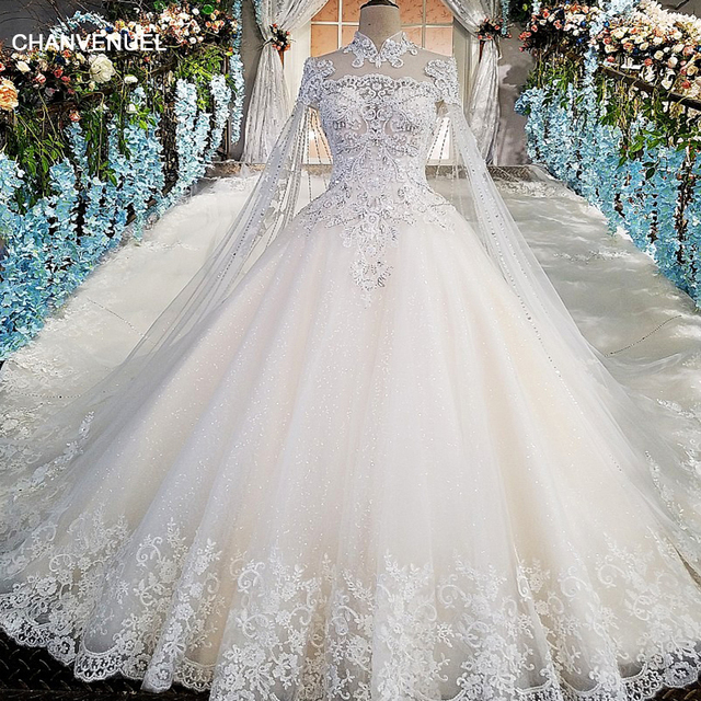 LS00169 Luxury wedding gowns with cape beaded ball gown short ...