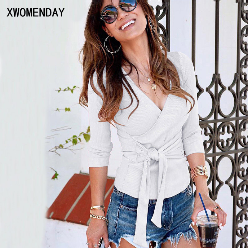 Tshirts Women Knitted Long Sleeve Sexy Deep V Neck Wrap Top T-shirts Autumn White Pink Cross Bandage Tee Shirt Streetwear