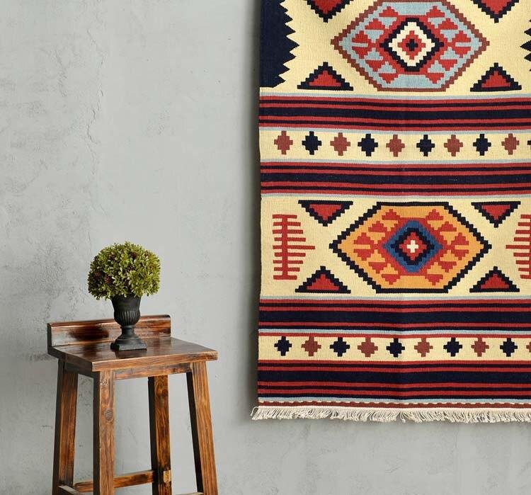 Kilim 100% laine fait main tapis géométrique indien tapis plaid rayé moderne contemporain tapisserie tapis design bohème style nordique