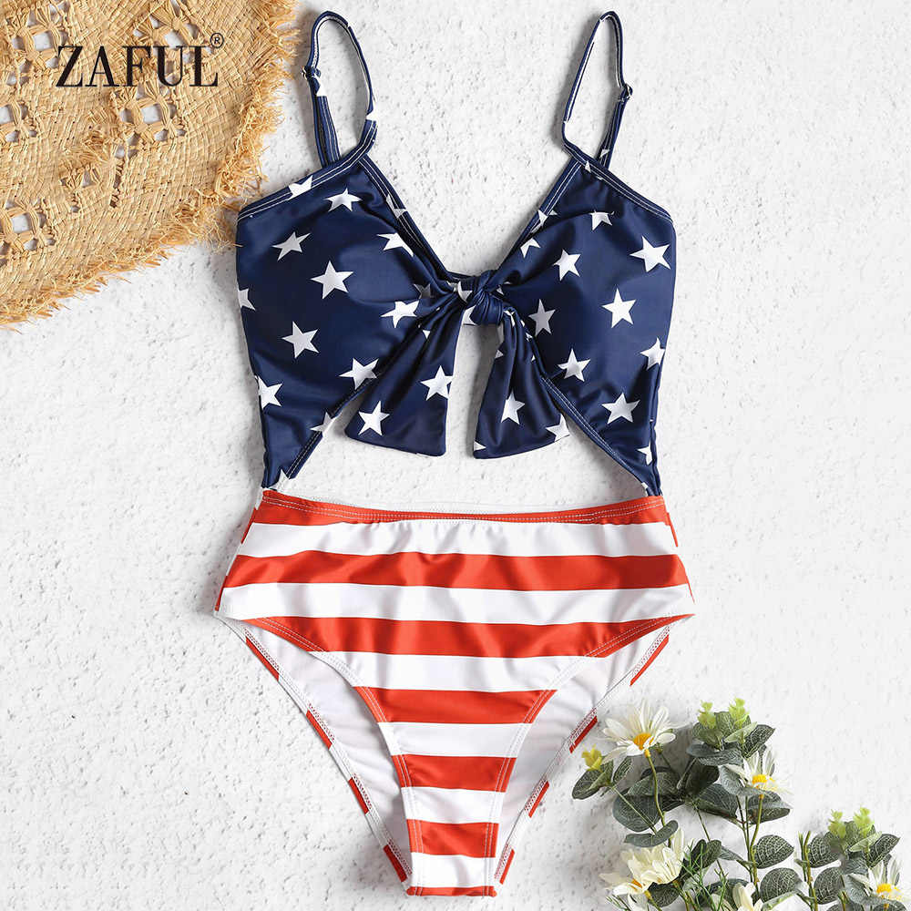 ee57f4c9898 ZAFUL One Piece Swimsuit Patriotic American Flag Cutout Swimwear Women  Spaghetti Straps High Waist Swimsuit Padded