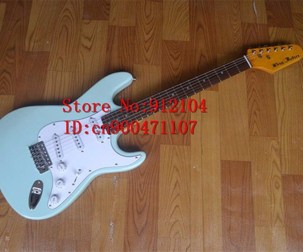 Livraison gratuite nouvelle guitare électrique Big John simple vague en bleu clair avec F-1255 de corps en tilleul