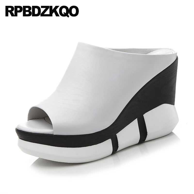00c23e68273 Pumps Designer Shoes Women Luxury 2018 Genuine Leather Wedge Sandals Mules  Runway Peep Toe White High