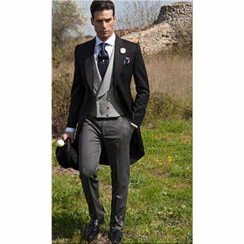 2020 Men Wedding Suits with Pants 3 Piece Suits Swallow-Tailed Coat Men Tuxedo Man Suits Slim Fit Prom Costume Homme Coat Blazer