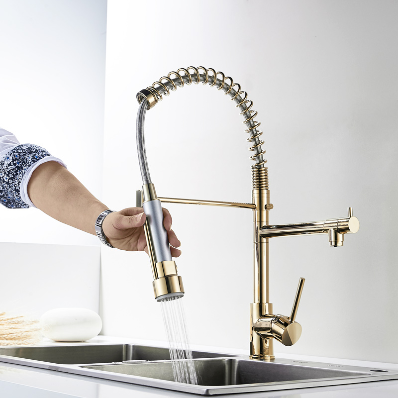 Fapully Gold Kitchen Faucet Sprayer Single Handle 360 Degree