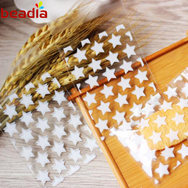 50pcs Bag Clear White And Gold Little Five Pointed Star Pattern Self