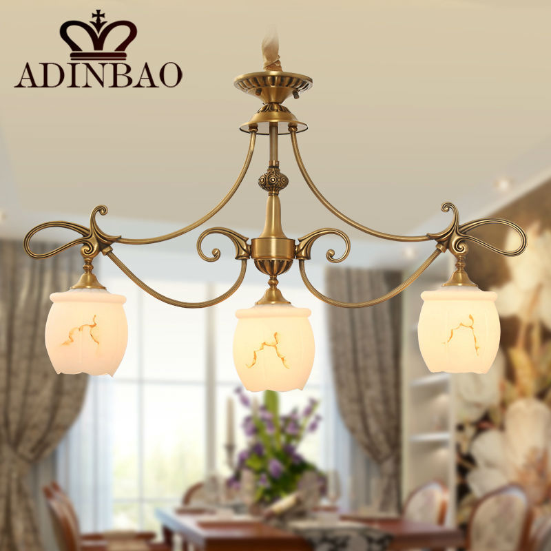 high quality copper chandelier with glass lampshade hanging light