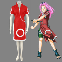 JP Anime adult Halloween costumes Cosplay Naruto Haruno Sakura sexy Cosplay Costume Cheongsam Clothing Set
